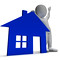 House Symbol And 3d Character Shows Real Estate